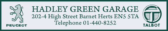 Hadley green garage barnet peugeot talbot 288x55