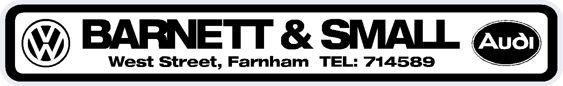 Barnett and Small - Farnham - VW Audi - Dealer Sticker
