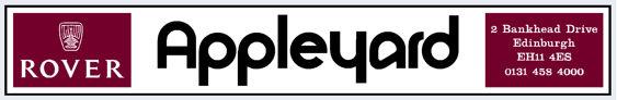 Appleyard - Edinburgh - Rover - Dealer Sticker