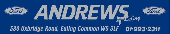 Andrews of Ealing - London - Ford - Dealer Sticker