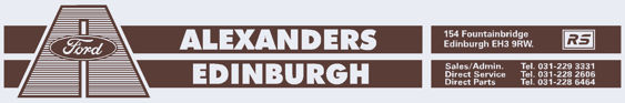 Alexanders of Edinburgh - Ford - Dealer Sticker