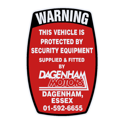 Dagenham Motors Security Decal