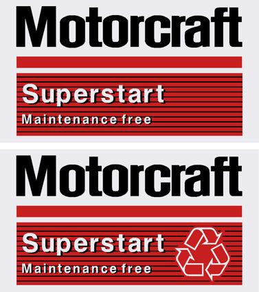 Motorcraft battery stickers