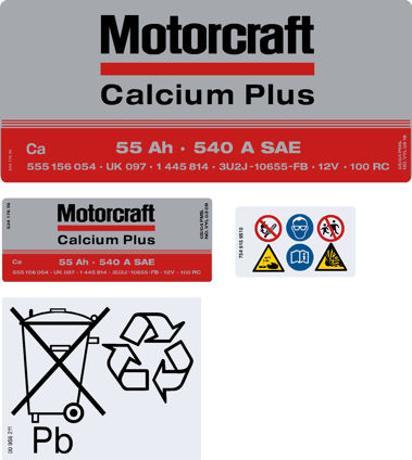 Motorcraft Battery Decals 097 55ah - Chrome Version