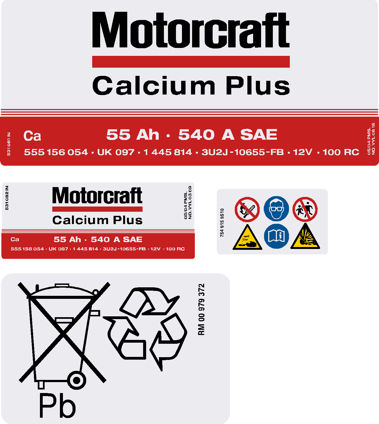 Motorcraft 097 55ah Battery stickers