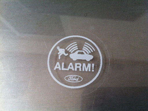 Ford Alarm Sticker White Round