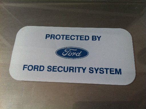 Ford Security System Sticker