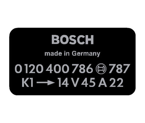 Bosch Alternator Decal Black 0120400786