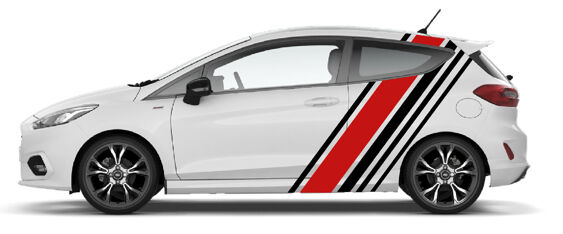 Collins style diagonal stripes full size blackred