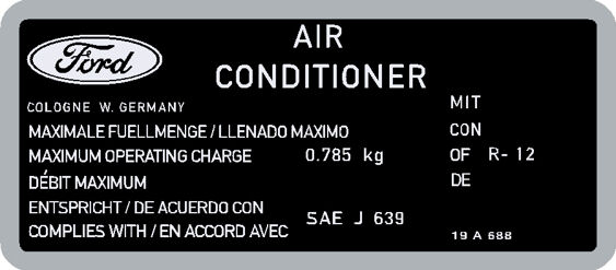 Air Conditioning Decal - 0.785kg - Black/Silver