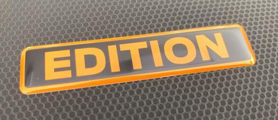 Black/Orange Gel Badge