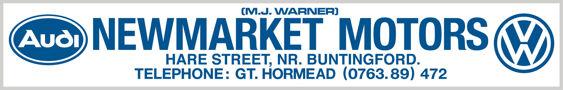 M J WARNER Newmarket Motors VW AUDI dealer sticker