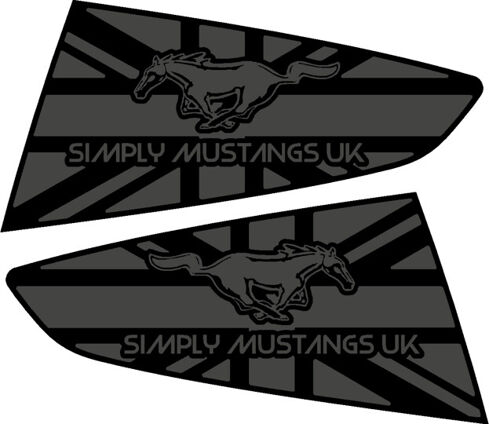 Mustang S550 Rear Quarter Window Decals - Name and Horse Logo