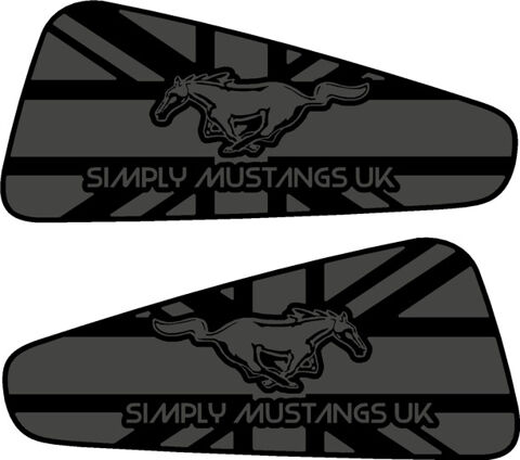 Mustang S197 Rear Quarter Window Decals - Name and Horse Logo