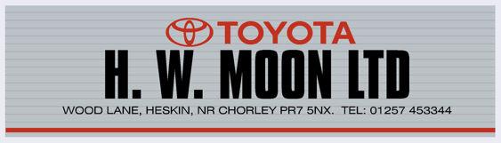 H W Moon Chorley Lancashire Toyota 215x62mm