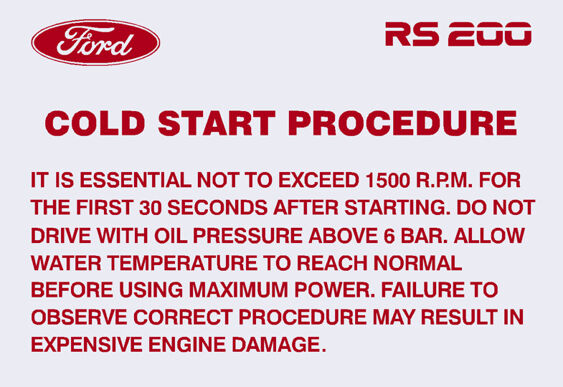 RS200 Cold Start Procedure Decal