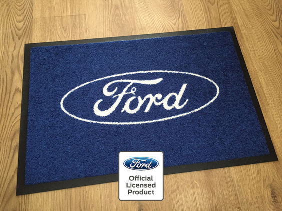 Ford Workshop / Garage Mat - Blue with Wireframe Logo