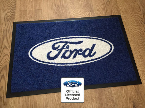 Ford Workshop / Garage Mat - Blue with Solid Logo