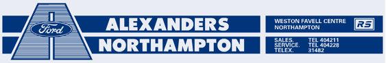 Alexanders of Northampton - Ford - Dealer Sticker