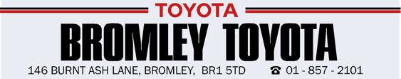 Bromley toyota dealer sticker 250x50