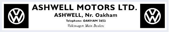 Ashwell motors vw dealer sticker 260x50