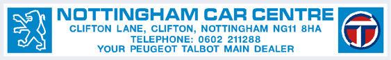 Nottingham car centre peugeot talbot 290x45