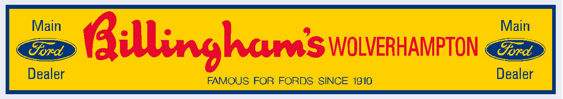 Billinghams of Wolverhampton - Ford - Dealer Sticker
